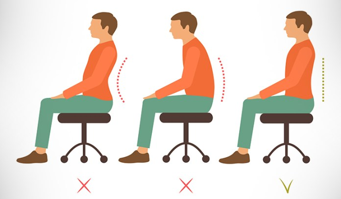 Good posture prevents back pain from worsening