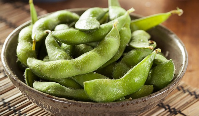 Replace roasted peanuts with edamame for reduced calorie and fat intake