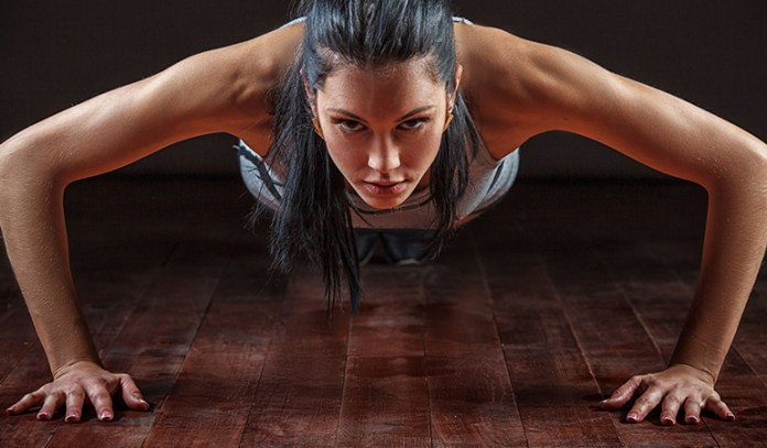 Walk-out push-ups tones arms and helps lose weight.