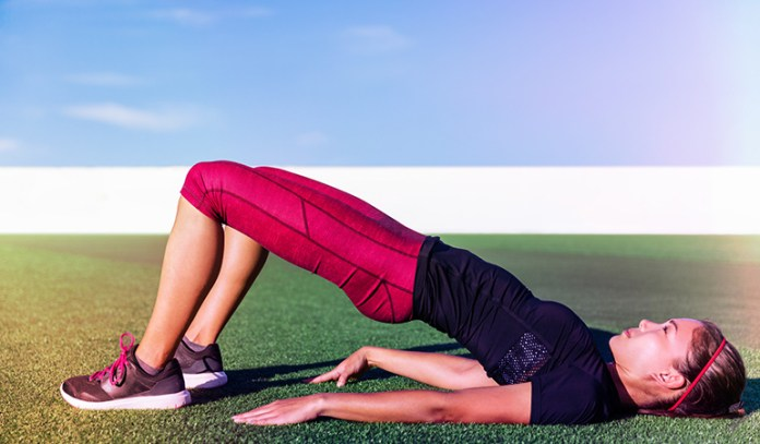 This exercise engages the hips and thighs.