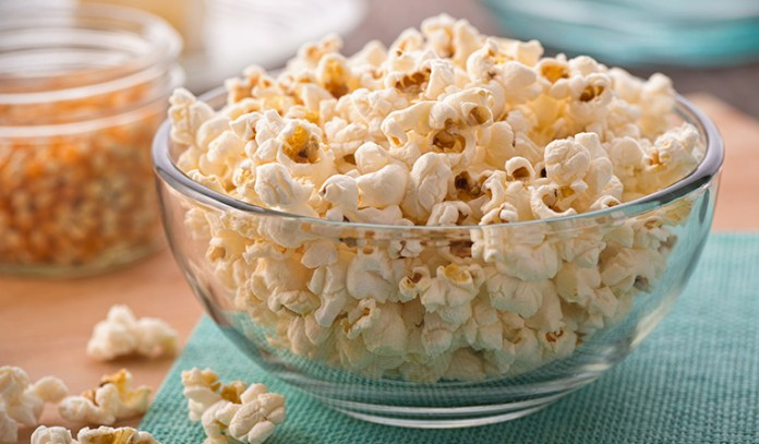 Air-popped popcorn is low in calories.