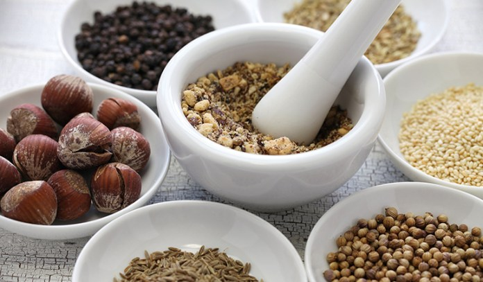Dukkah is an Egyptian spice blend made from nuts, spices, and seeds