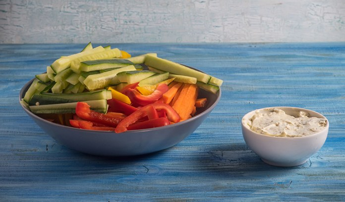 Hummus and veggies are rich in protein.