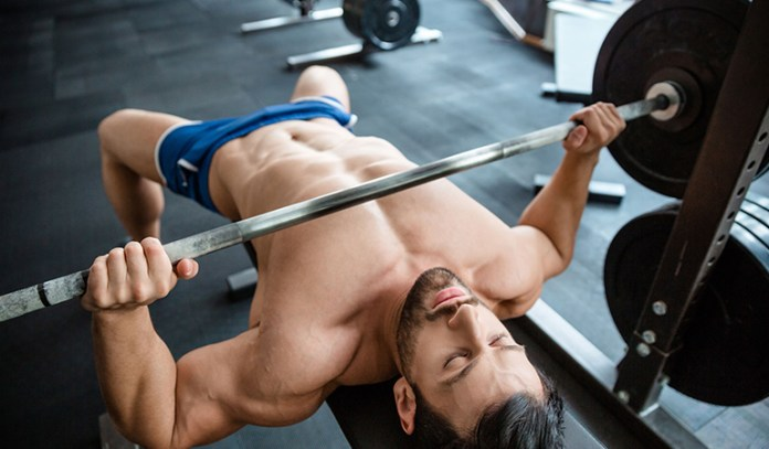 Barbell bench press strengthens chest muscles.