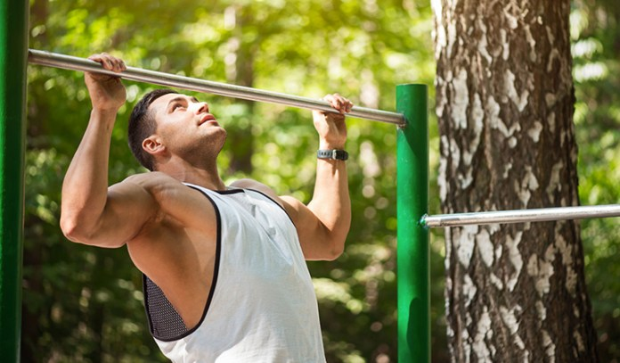 Bodyweight chin ups strengthen the upper back, biceps, and lats.
