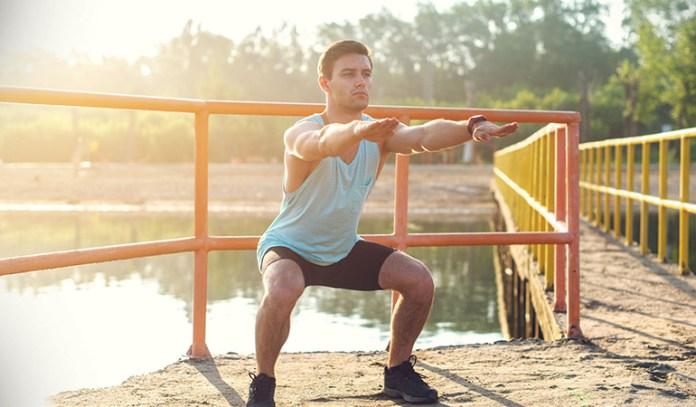 Squats strengthen leg and butt muscles.