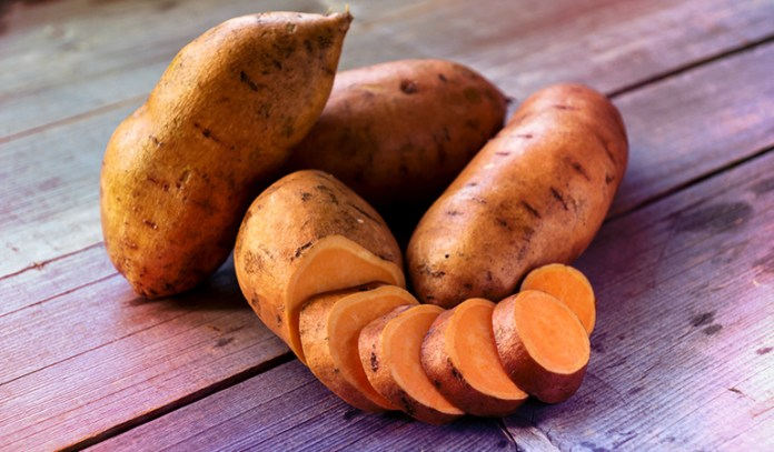 One baked sweet potato with skin has 1403 mcg RAE of vitamin A,.