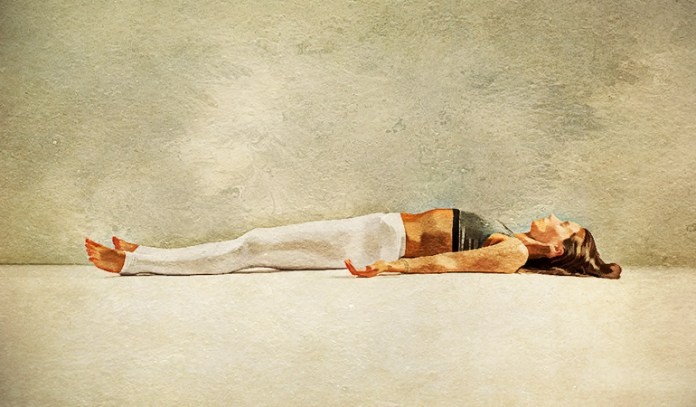 The corpse pose calms the mind and help improve concentration.