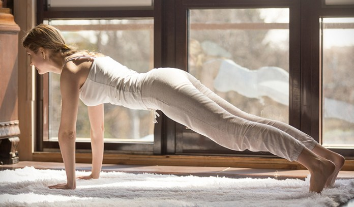 Plank pose improves posture and strengthens abs.