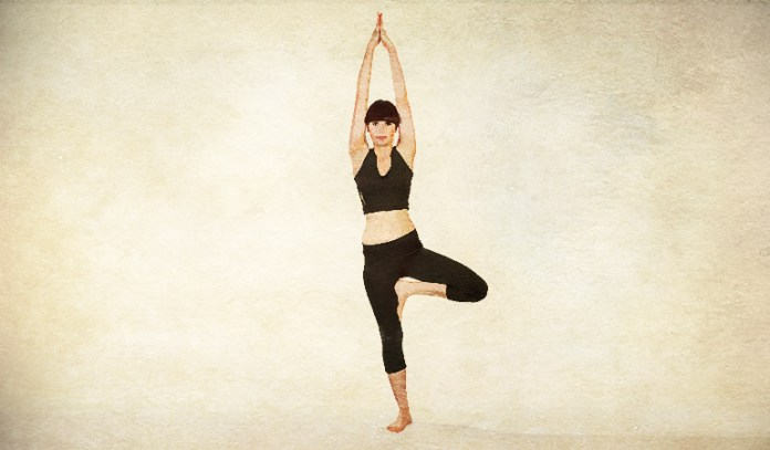 The tree pose strengthens the arms and legs.
