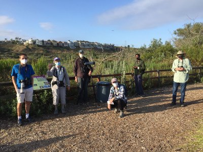 Members of CURes conducting research in Ballona Wetlands whilst wearing masks
