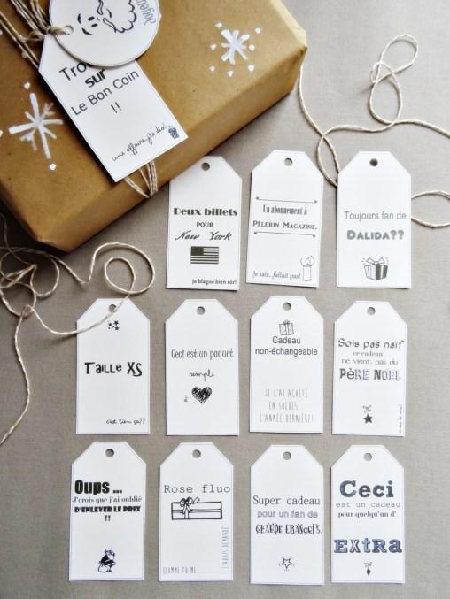 étiquettes cadeaux Noël
