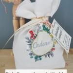 Emballage cadeau réutilisable : Pochette cadeau en tissu et étiquettes