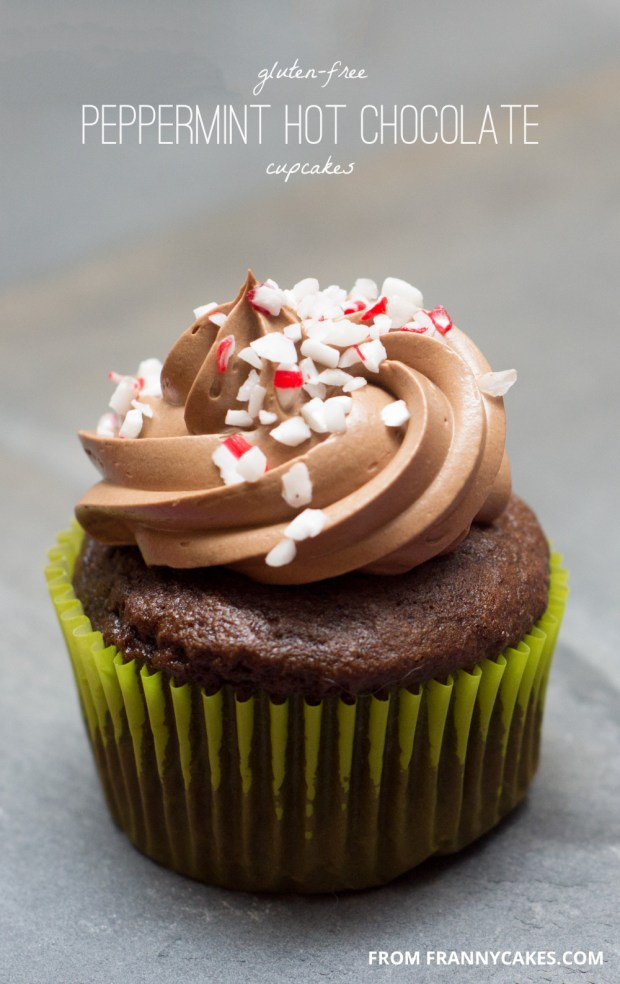 a recipe for gluten-free peppermint hot chocolate cupcakes from frannycakes
