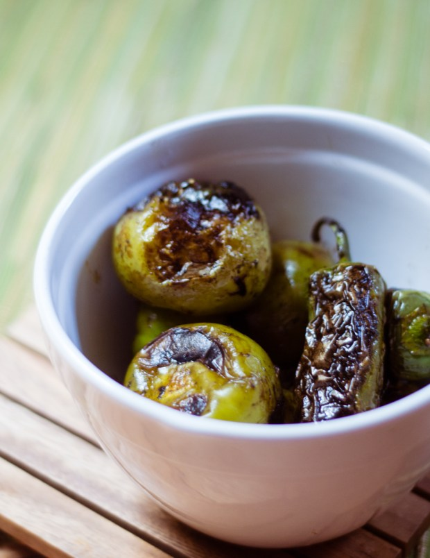 charred tomatillos and jalapenos for hot sauce