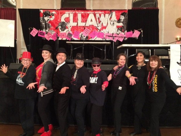 posing after our warm up for a performance at CLLAW
