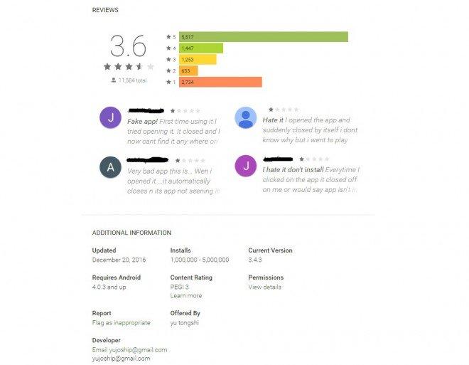Valoraciones falsas en Google Play