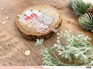 Rondin de bois décoré – Joyeux Noël