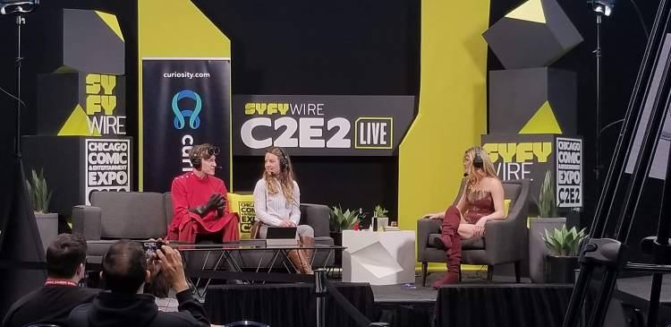 Curiosity Daily hosts Cody Gough and Ashley Hamer (left) and special guest Natalia Reagan (right) in cosplay at the 2019 Chicago Comics and Entertainment Expo (C2E2)