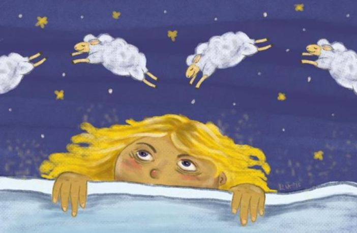 girl counting sheep to fall asleep