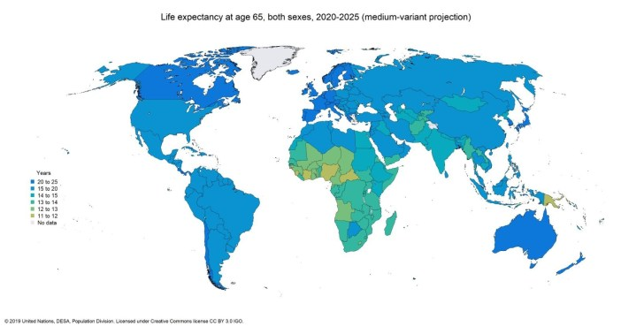 life expectancy at age 65, both sexes 2020-2025.