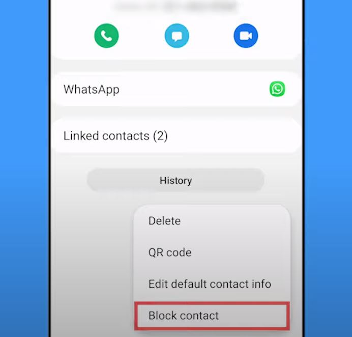 Block numbers in samsung galaxy from the Contacts app.