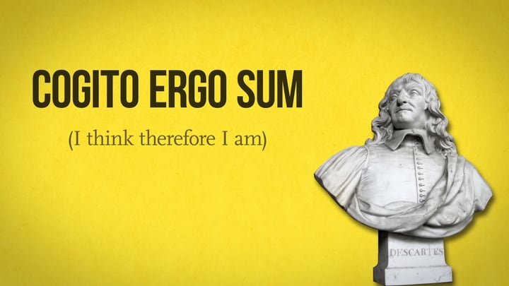 A text saying I think, therefore I am beside the statue of René Descartes.