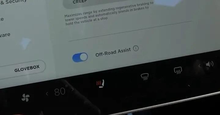 Tesla car test off-road assist.