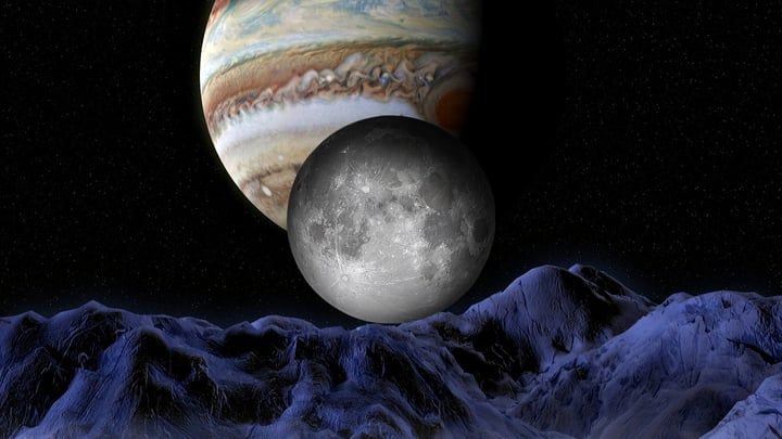 An illustration of the process by which the planet Jupiter affects the formation of the Earth's moon.