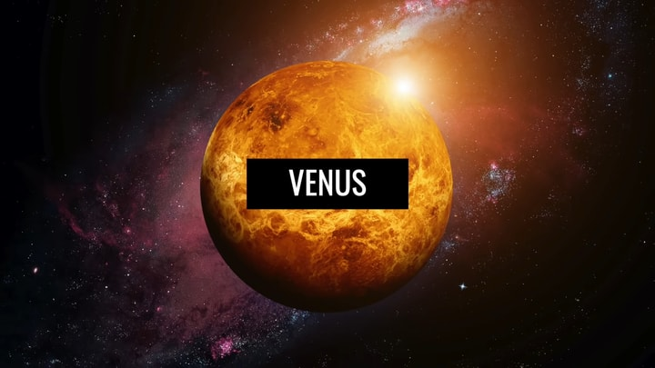 """An image of the planet Venus hovering in space. On the planet is written """"Venus""""."""