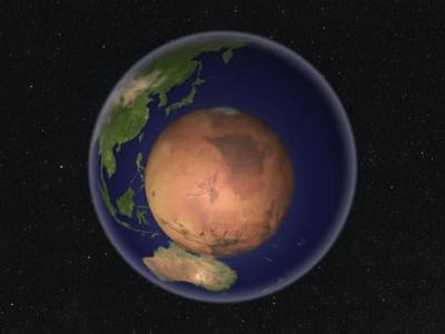 Picture of Earth and Mars. Space documentary 2021, Curiosity rover on Mars.