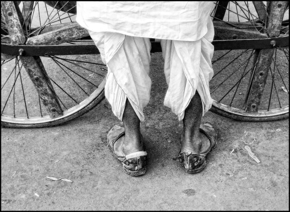 Man wearing all season white cotton Indian pants