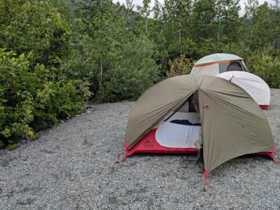 tents at Spencer Glacier
