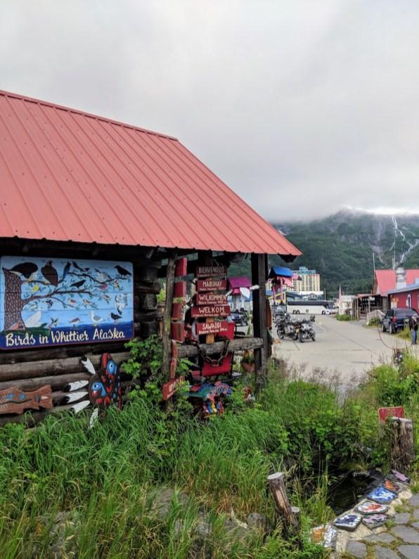 downtown Whittier log cabin
