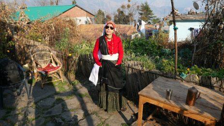 traveler wearing local kumaouni attire