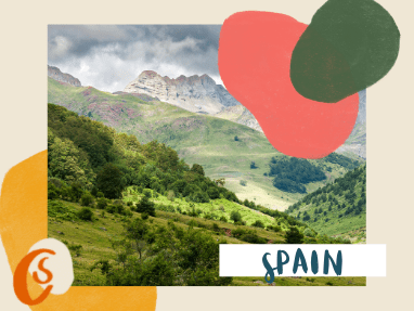 green mountains in Spanish Pyrenees