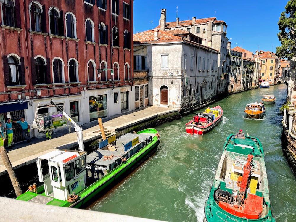 Recycling boats in Venice sustainable travel tips
