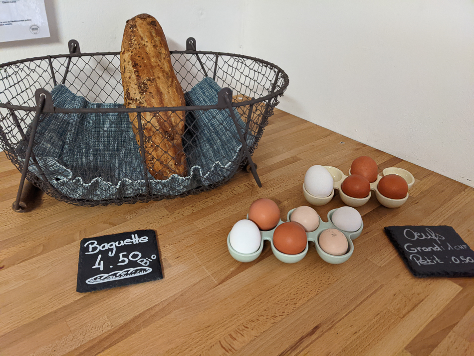 Baguette and farm-fresh eggs available for campers