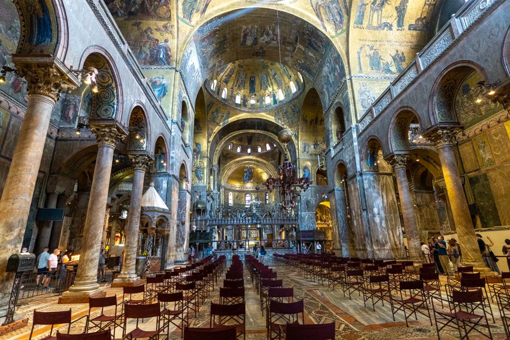 Golden-filled Inside St. Mark's Basilica in Venice