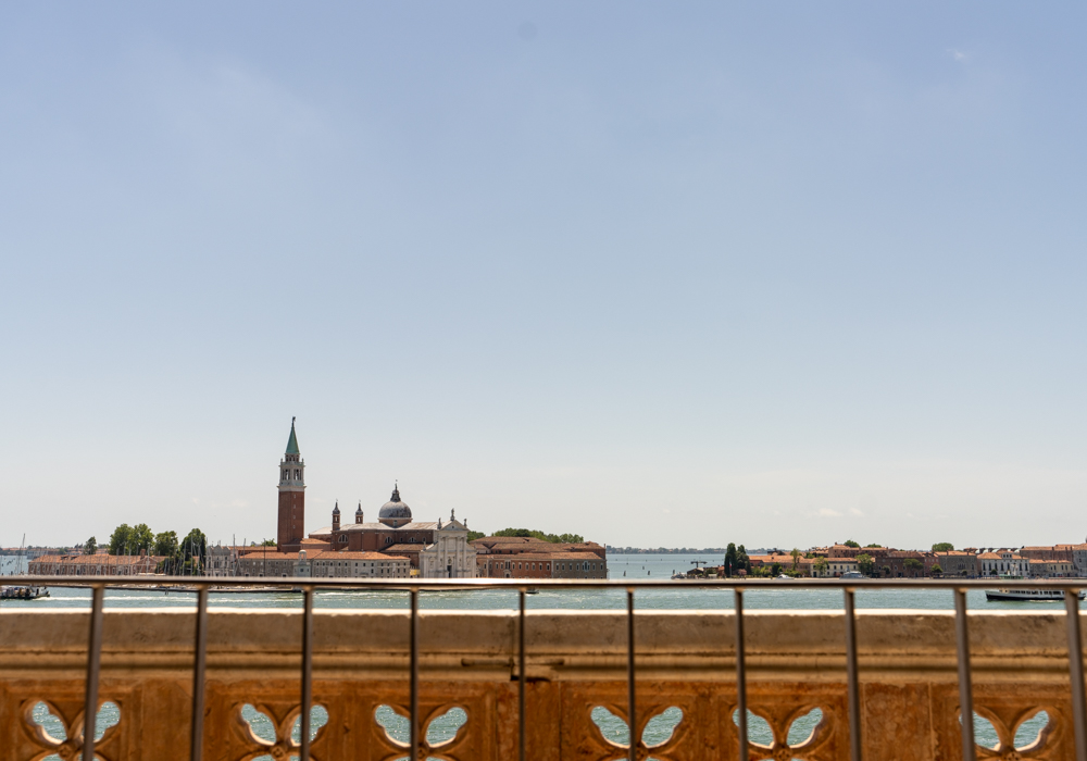 Overlooking the Venice lagoon from a balcony