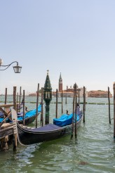 Venice lagoon filled with gondolas