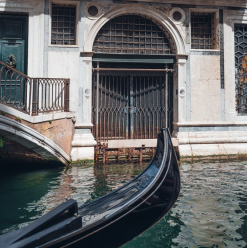 Venice waterway and gondola