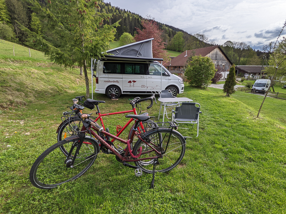 bicycles and campervan on a bio farm in switzerland