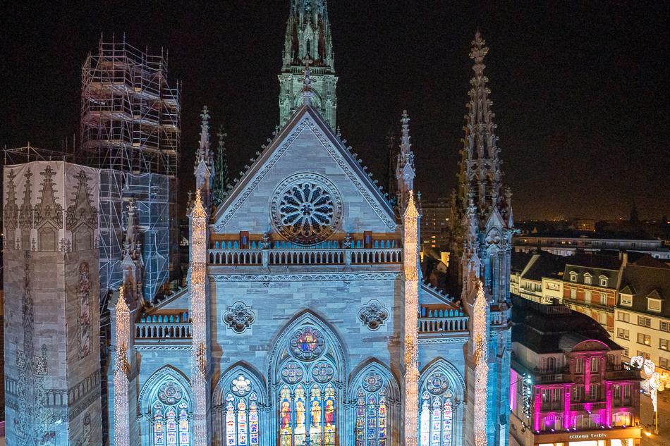 Temple Saint-Étienne Mulhouse lit up for Christmas Market