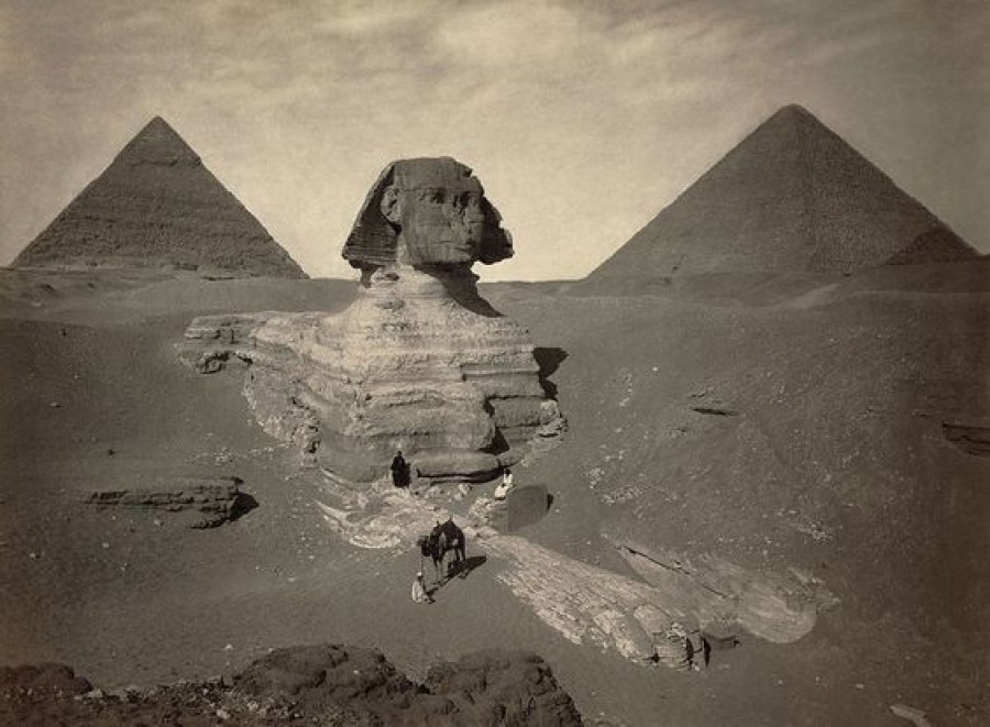 The Great Sphinx of Giza before it was entirely excavated.