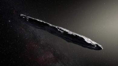 An artist's impression of the huge cigar-shaped object called 'Oumuamua.