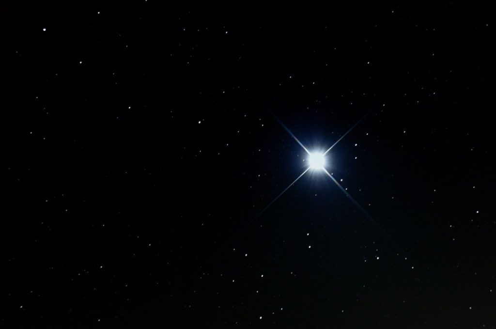 Sirius, the brightest star in the night sky. Image Credit: Wikimedia Commons.