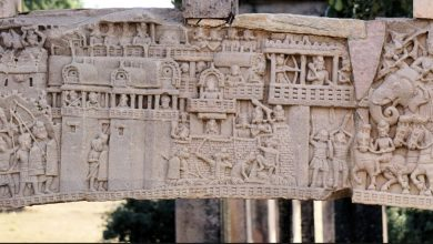 One of the reliefs at the Great Stupa of Sanchi in Madhya Pradesh. Image Credit: Wikimedia Commons.