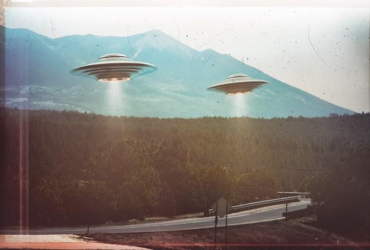 Two UFOs flying in the sky. Shutterstock. Advanced Underwater Aliens