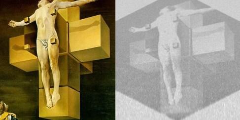 Crucifixion (Corpus Hypercubus) de Salvador Dalí. Izquierda- imagen original, Derecha-imagen escondida el track Majestic de la banda sonora de FEZ.